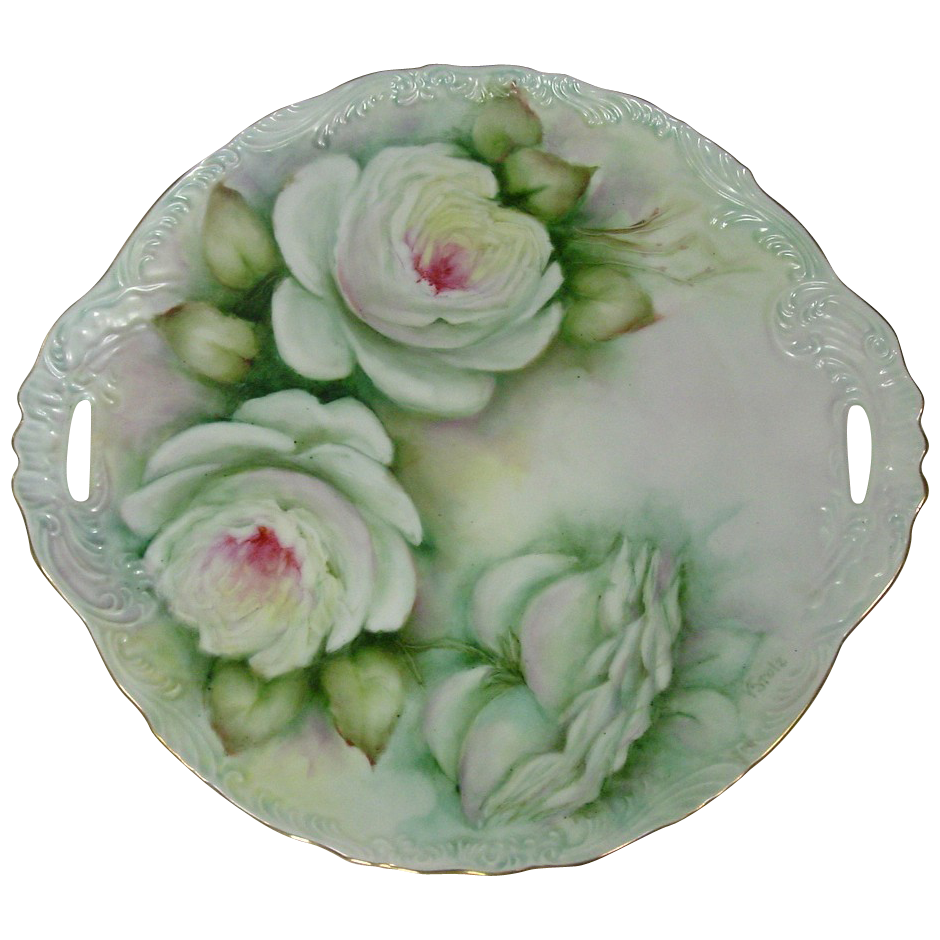 Handpainted Charger ~ Roses ~ Signed, V. Stolz
