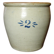 SOLD Antique Semi-Ovoid Crock ~ Cobalt Stenciled 2 ~ Excellent
