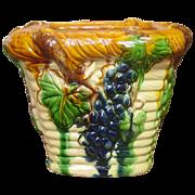Majolica Planter ~ Grapes, Leaves, Vines Design ~ Multicolor Glaze