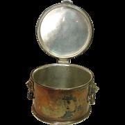 Elkington Plate, English Hallmarked Lion Handled Round Box