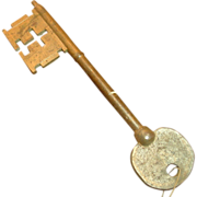 "SOLD Huge Cast Iron Castle / Skeleton Key, 15 1/2"", Golden Finish"