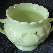 Heisey custard glass 'Winged Scroll' spooner, Victorian