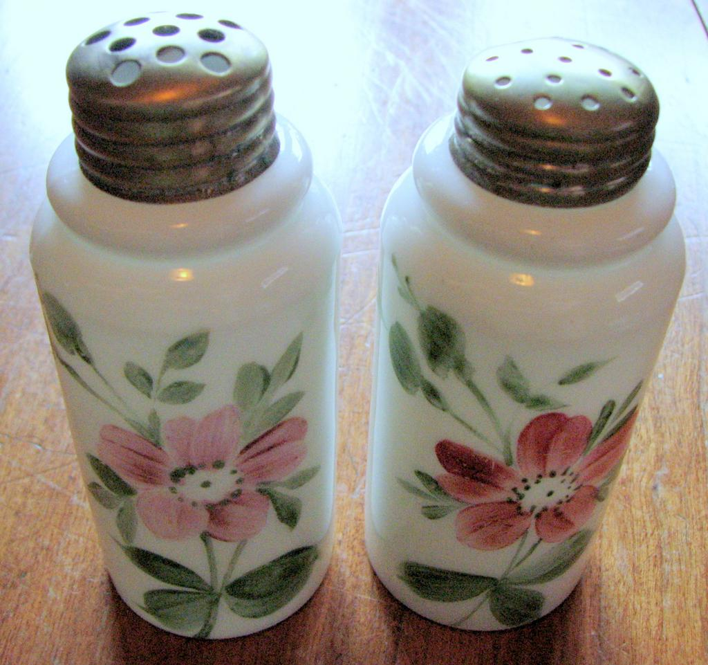 Victorian Art Glass shakers, Creased neck pillar, Hand-painted opalware salt / pepper set