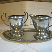 Pewter Art Deco sugar/creamer set, Benedict