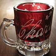 Eapg ruby-stained Glass McKee antique child's toy mug, miniature souvenir