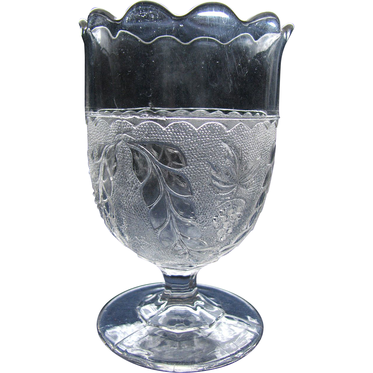 Eapg, Pattern glass 'Stippled Grape and Festoon' spooner, Boston Sandwich