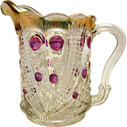 Eapg 'Blazing Cornucopia' pattern amethyst stained, U.S. Glass cream pitcher