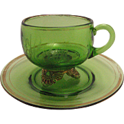 Eapg Colorado pattern, green glass cup / mug set