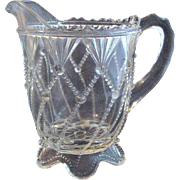 SALE Eapg Greentown glass 'Cord Drapery' Indiana Tumbler & Goblet creamer, crystal