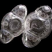 SOLD Eapg 'Beaded Band', Victorian relish pair, Burlington Glass