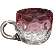 SALE Victorian cranberry Rubina punch cup, Hobbs or Phoenix Consolidated Glass