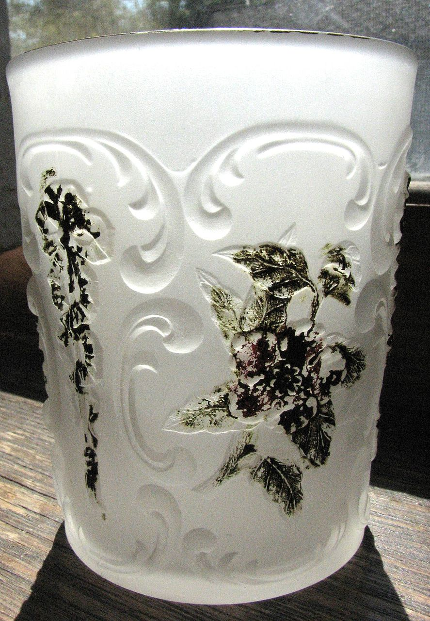 Sultan pattern, 'Wildrose & Bowknot' frosted tumbler, McKee Glass