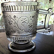Eapg Victorian pattern glass child's mug, 'Ribbed forget me-not', Bryce