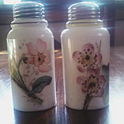 SOLD Antique Victorian art glass salt pepper shaker set