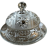 SOLD Eapg, Robinson's Puritan frosted pattern glass butter dish, 'Radiant Daisy'