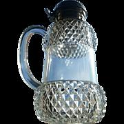 Victorian glass syrup pitcher, diamond panels