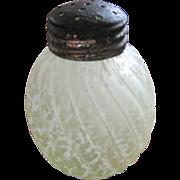"Northwood Glass, ""Reverse swirl"", Vaseline / canary Victorian art glass shaker"