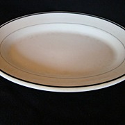 REDUCED Vintage Restaurant ware Buffalo China Porcelain Platter with Green Stripes