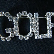 REDUCED Vintage Rhinestone Silver Pin/Brooch   Spells Out GOLF