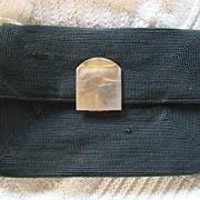REDUCED Unique 40's vintage black CORDE clutch handbag by Arvey Handbag Co