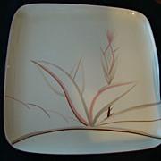 REDUCED Vintage Porcelain China Square Serving Platter Winfield Rose Wheat / Dragon Flower Design