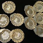 REDUCED Vintage Set of 10 Sterling Gorham Silver Shell Design Bonbon Dishes Engraved JHG
