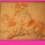 Superb 17thC Dutch drawing by Jacob Toornvliet 1635-1719, two putti chasing a satyr