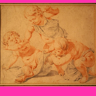 REDUCED Superb 17thC Dutch drawing by Jacob Toornvliet 1635-1719, two putti chasing a satyr