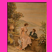 Reduced!  Superb painting by French 1900 Master Lionel Péraux, romantic scene