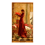 """SOLD Superb 1880 romantic Masterpiece """" Lady with flowers"""" by E Joors, highly listed"""
