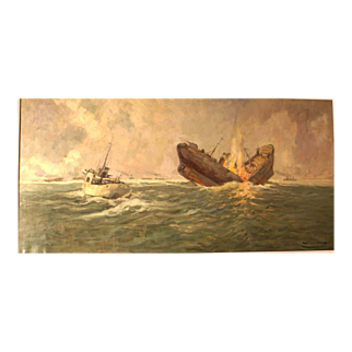 REDUCED Reduced! Superb 1948 seascape WWII Naval Warfare painting, Atlantic convoy in attack, ship identified, by highly listed European Master