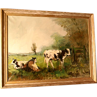 SALE Superb impressionist 1950 painting, cows in pasture, by highly listed European Master