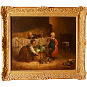 SOLD Superb 1870 Master painting by Felix Van den Eycken, highly listed, children playing with