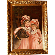 "SOLD Great end 19thC French romantic painting, portrait of girls with dog "" best friends"""