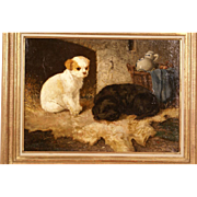 SOLD Superb 1865 dog puppies portrait painting by Vincent De Vos ( 1829-1875). Highly listed i