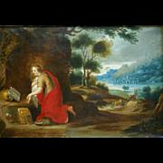 """SOLD Superb oil on copper 17thC Flemish """" Madonna in landscape"""". H Van Balen ( 1575-"""