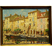 "SOLD Superb 1900 impressionistic  painting ""Martigues harbour view"" by Sophus T Levi"