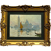 """SOLD Superb 1900 impressionistic painting """" Venice view"""" by Sophus T Levinsen ( 1869"""