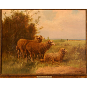 SOLD Superb 19th Century painting by P Henry Schouten ( 1857-1927). Sheep in landscape. perfec