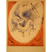 """SOLD Salvador Dali, etching 1964, 62/150, signed. Original 1964 etching """" Leda and the Sw"""