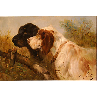 SALE Superb 1900 portrait painting two hunting dogs by Henry Schouten ( 1857-1927). Great antique dog portrait painting.
