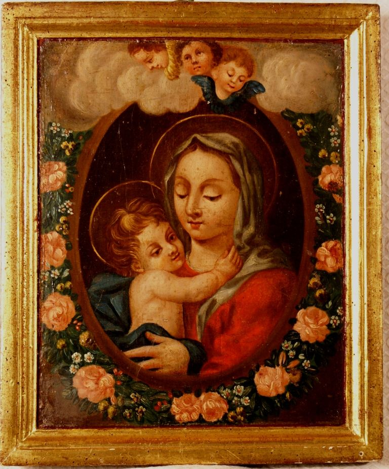 18th Century French Painting on panel Madonna with Holy Child