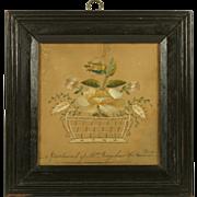 Georgian Needlework On Paper Pin Prick Signed Mrs Bagshaw The American Lady Rare Folk Art ...