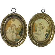 Georgian Silkwork Pair Miniature Size English Circa 1790