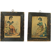 SOLD Early 19th Century Miniature Engravings Scottish Folk Art John Fairburn Dated 1833