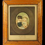 SOLD Circa 1778 Colored Mezzotint Engraving Les Deux Ami Georgian