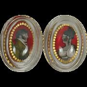 SALE Georgian Glass Salt PAIR Reverse Painted Portraits Bohemian Circa 1810