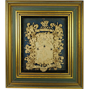 Georgian Cut Paper Coat of Arms Rare English Armorial Circa 1770