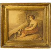 SOLD RESERVED VS Antique Georgian Painting Dog and Girl Watercolor English School Circa 1810 S