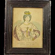 Circa 1831 Miniature Engraving Queen Adelaide English Lovely Frame